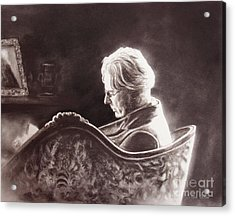 Yeats At The Fire Acrylic Print by Colleen Quinn