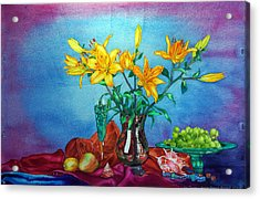 Yellow Lily In A Vase Acrylic Print