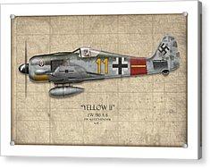 Yellow 11 Focke-wulf Fw 190 - Map Background Acrylic Print by Craig Tinder