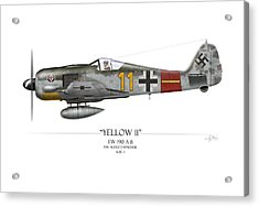 Yellow 11 Focke-wulf Fw 190 - White Background Acrylic Print by Craig Tinder