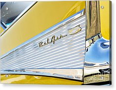 Yellow 1957 Chevrolet Bel Air Tail Fin Acrylic Print by Tim Gainey