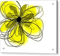 Yellow Abstract Flower Art  Acrylic Print by Ann Powell