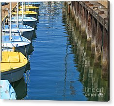 Yellow And Blue Sailboats From The Book My Ocean Acrylic Print
