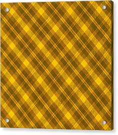 Yellow And Brown Diagonal Plaid Pattern Cloth Background Acrylic Print