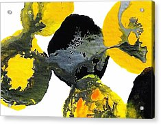 Yellow And Gray Interactions 4 Acrylic Print by Amy Vangsgard