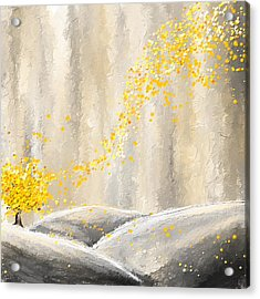 Yellow And Gray Landscape Acrylic Print by Lourry Legarde
