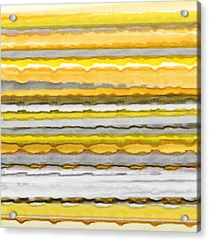 Yellow And Gray Stripes Art Acrylic Print by Lourry Legarde