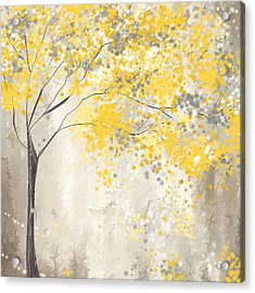 Yellow And Gray Tree Acrylic Print