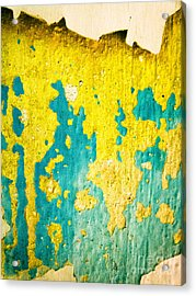 Acrylic Print featuring the photograph Yellow And Green Abstract Wall by Silvia Ganora
