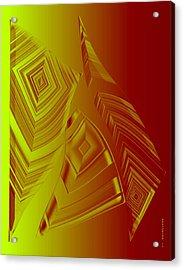 Yellow And Orange Triangles Acrylic Print by Mario Perez