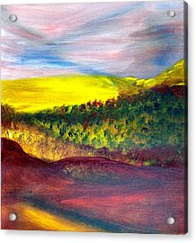 Yellow And Red Landscape Acrylic Print by Michaela Kraemer