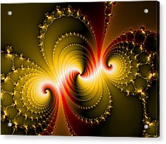 Yellow And Red Metal Fractal Art Acrylic Print by Matthias Hauser