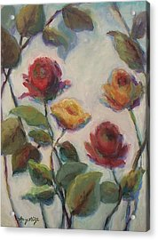 Yellow And Red Roses  Acrylic Print