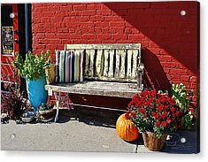 Acrylic Print featuring the photograph Yellow Bench by Ludwig Keck