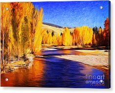 Yellow Bend In The River II Acrylic Print