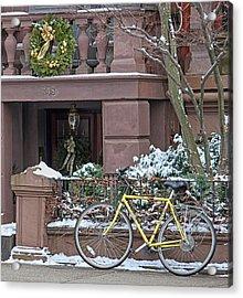 Yellow Bike In Boston Acrylic Print by Susan OBrien