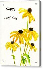 Yellow Black Eyed Susans Birthday Card Acrylic Print by Sharon Freeman