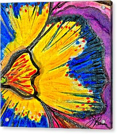 Acrylic Print featuring the painting Yellow Blue Flower by Joan Reese
