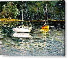 Yellow Boat Sister Bay Acrylic Print by Marilyn Smith