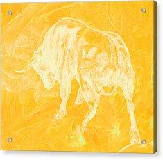 Yellow Bull Negative Acrylic Print