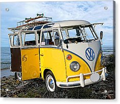 Yellow Bus At The Beach Acrylic Print