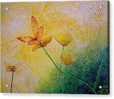 Yellow Butterfly Acrylic Print by Svetla Dimitrova