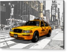 Yellow Cab At The Times Square -comic Acrylic Print by Hannes Cmarits