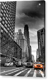 Yellow Cab One - New York City Street Scene Acrylic Print