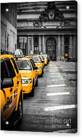 Yellow Cabs Waiting - Grand Central Terminal - Bw O Acrylic Print by Hannes Cmarits