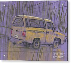 Acrylic Print featuring the painting Yellow Camper by Donald Maier