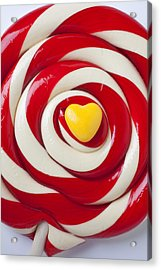 Yellow Candy Heart On Sucker Acrylic Print by Garry Gay