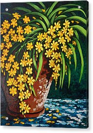 Acrylic Print featuring the painting Yellow Cascade by Katherine Young-Beck