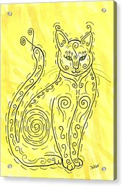 Acrylic Print featuring the painting Yellow Cat Squiggle by Susie Weber