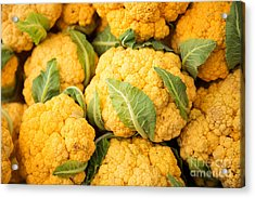 Yellow Cauliflower Acrylic Print by Rebecca Cozart