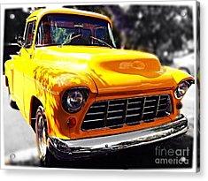 Yellow Chevy Acrylic Print by Garren Zanker