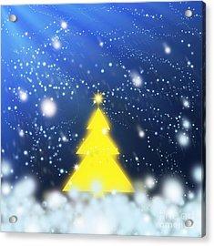 Yellow Christmas Tree Acrylic Print by Atiketta Sangasaeng