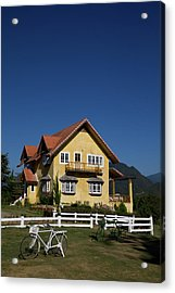 Yellow Classic House On Hill In Thailand  Acrylic Print by Tosporn Preede