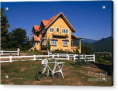 Yellow Classic House On Hill Acrylic Print by Tosporn Preede