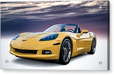 Yellow Corvette Convertible Acrylic Print by Douglas Pittman