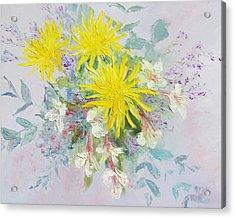 Yellow Dahlias And Peruvian Lilies Acrylic Print by Jan Matson