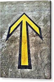 Yellow Directional Arrow On Pavement Acrylic Print