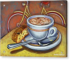 Acrylic Print featuring the painting Yellow Dutch Bicycle With Cappuccino And Biscotti by Mark Howard Jones