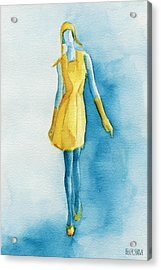 Yellow Ensemble - Watercolor Fashion Illustration Acrylic Print by Beverly Brown