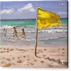 Yellow Flag  Barbados Acrylic Print by Andrew Macara
