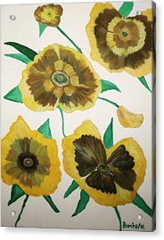Yellow Floral Burst Acrylic Print