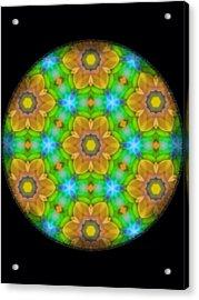 Yellow Flower Mandala Acrylic Print by Karen Buford
