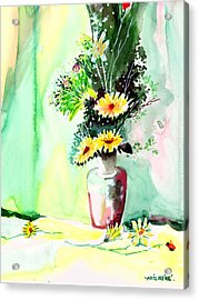 Yellow Flowers 1 Acrylic Print by Anil Nene