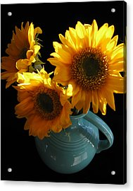 Acrylic Print featuring the photograph Yellow Flowers In Fiesta Pitcher by Patricia Januszkiewicz