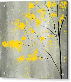 Yellow Foliage Impressionist Acrylic Print by Lourry Legarde