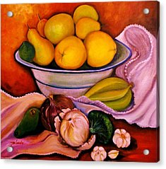 Acrylic Print featuring the painting Yellow Fruits by Yolanda Rodriguez